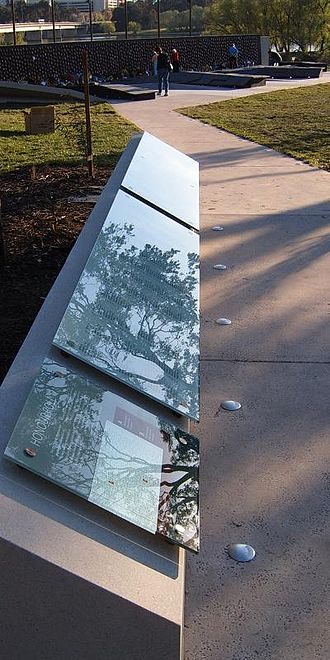 National Police Memorial Australia - Honour roll with paved 'terrain' area and commemorative wall.