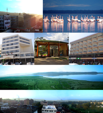 Nakuru - Clockwise: Sunrise in Nakuru, Flamingos in Lake Nakuru, Avenue Suites Hotel, Baboon Cliff, Nakuru Skyline, Merica Hotel and entrance to Lake Nakuru National Park.