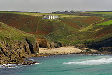 View of the sandy cove of Nanjizal from the Carn Boel headland