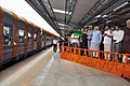 Narendra Modi dedicating the newly constructed railway line between Shri Mata Vaishno Devi Katra-Udhampur Section to the Nation by flagging off the first train from Shri Mata Vaishno Devi Katra Railway Station (1).jpg