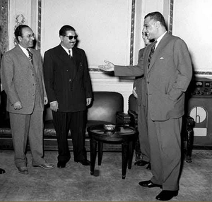 Abdullah Rimawi - Rimawi (first from left) with President Gamal Abdel Nasser of Egypt (first from right), January 1957