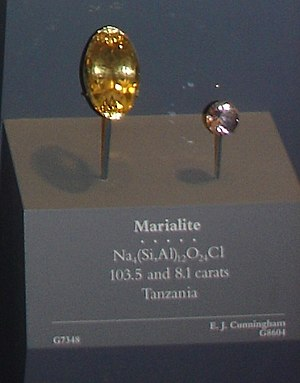 Scapolite - Marialite, a component of scapolite, from Tanzania at the National Museum of Natural History