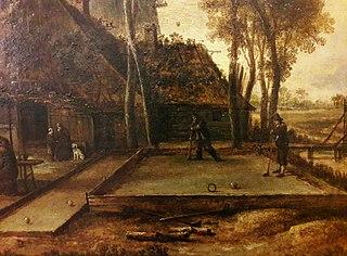 Evening game of kolf in a Dutch village