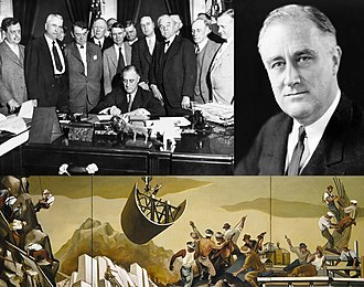 New Deal - Top left: The TVA signed into law in 1933 Top right: President Roosevelt led the New Dealers; Bottom: A public mural from arts program