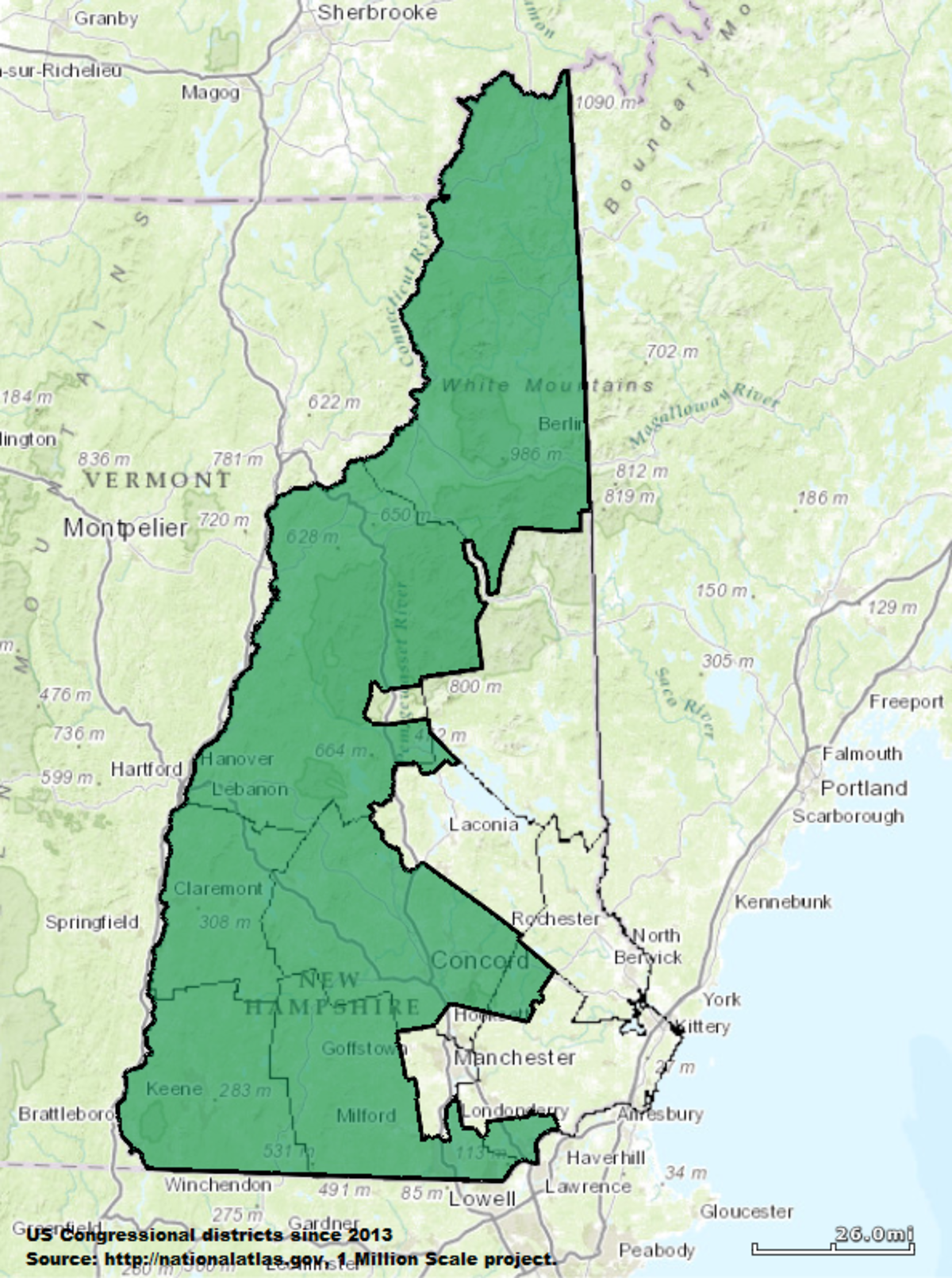 New Hampshires Nd Congressional District Wikipedia - New hampshire in us map