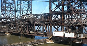 Passaic and Harsimus Line - Harsimus Branch Lift Bridge over the Hackensack River
