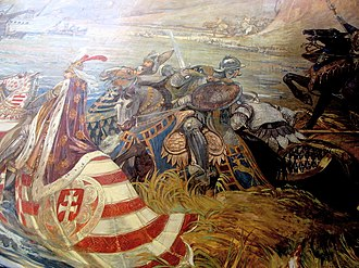 Battle of Nicopolis - Titus Fay saves King Sigismund of Hungary in the Battle of Nicopolis. Painting in the Castle of Vaja, creation of Ferenc Lohr, 1896.