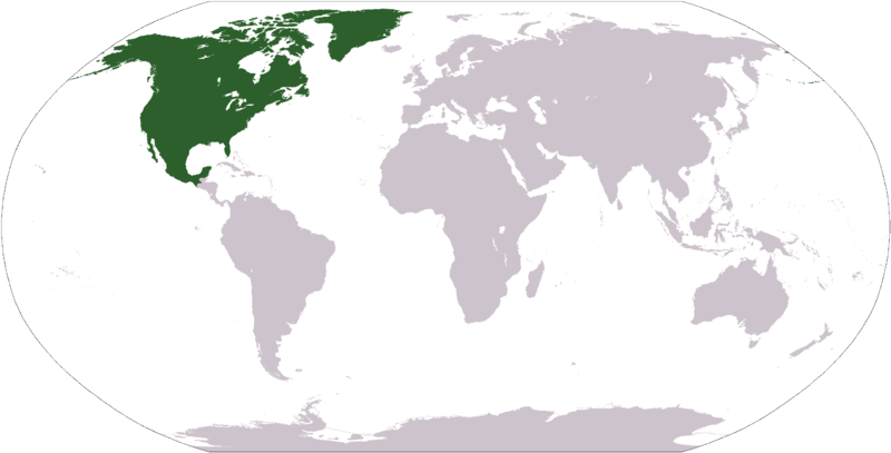 World map with the North American continent highlighted in green