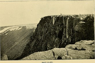 Denmark expedition - Navy Cliff, the easternmost point accurately mapped by Robert Peary in the Independence Fjord area. Features drawn by Peary east of it were mere guesswork that fatally disconcerted the main exploration team led by Mylius-Erichsen.