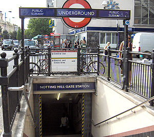 Notting Hill Gate tube station - Entrance through a subway