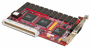 "NuBus - Example of a NuBus graphics card, a Radius PrecisionColor Pro 8/24xj. This is a ""half-length"" card, with a maximum length of 7 inches. The maximum length for full-size NuBus cards is 12 inches."