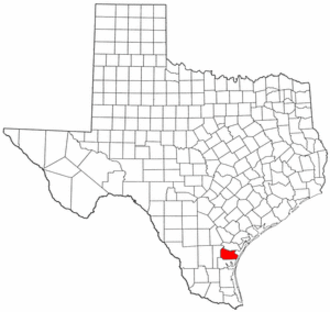 National Register of Historic Places listings in Nueces County, Texas - Location of Nueces County in Texas
