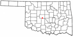 Location of Union City, Oklahoma