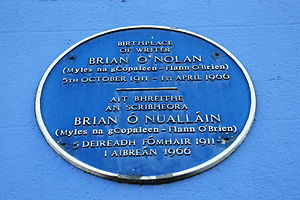 Brian O'Nolan - Blue plaque for O'Nolan