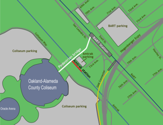Oakland Coliseum station - Image: Oakland Coliseum area map