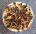 Oatmeal with blueberries, granola and salted chocolate (Netherlands 2019) (48701070727).jpg