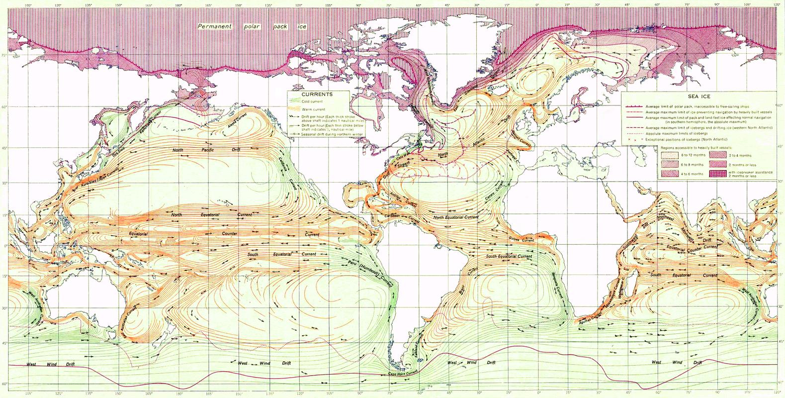 Карта течений мирового океана 1943 года