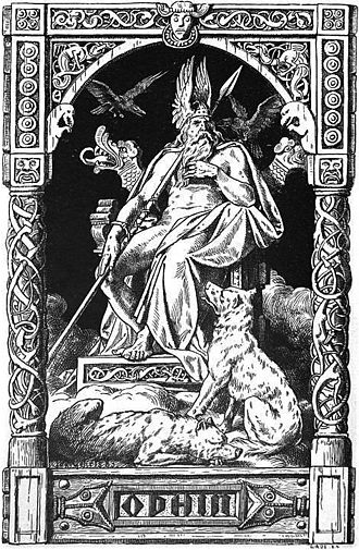 Johannes Gehrts - Odin flanked by his ravens Huginn and Muninn, and the wolves Geri and Freki (1901)