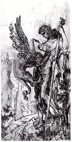 Oedipus and the Sphinx - Original watercolour of the idea for Oedipus and the Sphinx, 1861.