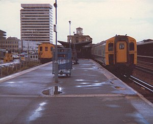 Waterloo–Reading line - Reading station with Southern Region trains in 1979.