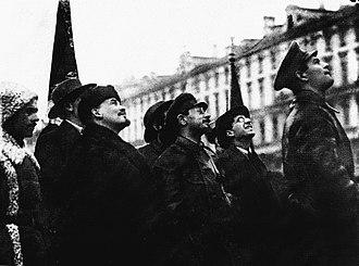 Yakov Sverdlov - Yakov Sverdlov and Vladimir Lenin open the statue of Karl Marx 1918
