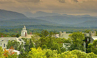 Middlebury College - Old Chapel with the Green Mountains in the distance
