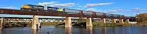 Mattice-Val Côté - Image: Ontario Northland train crosses the Missinaibi River at Mattice Val Côté, Ontario