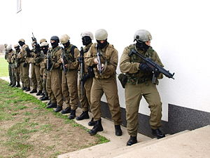 Hungarian Defence Forces - Operator of Hungarian Army's HDF 34th Bercsényi László Special Operations Battalion (KMZ) about to storm the unit's own Killing House
