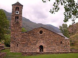 Sant Martí de la Cortinada, a 12th-century Romanesque church in La Cortinada