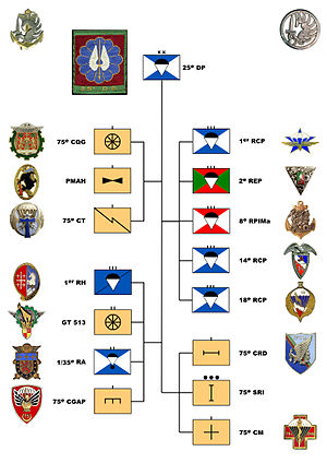 25th Parachute Division (France) -  Organizational Chart of the 25th Parachute Division in April 1960