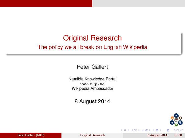 File:Original Research--The policy we all break on English Wikipedia.pdf