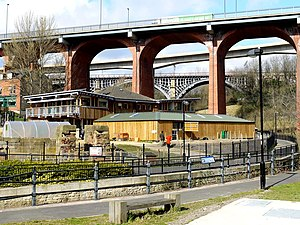 Byker Bridge - The Byker Bridge, from the valley floor, with the Byker Viaduct and the Ouseburn Viaduct behind it.
