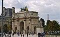P1090012 France, Paris, le pavillon de Flore, un élément du Louvre, l'Arc du Carrousel et la tour Eiffel au loin (5629161511).jpg