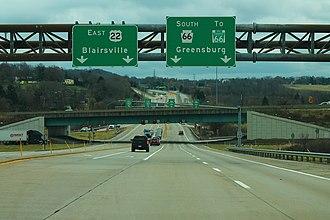 Pennsylvania Route 66 - PA 66 southbound at the US 22 interchange near Delmont