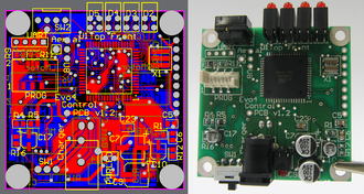 Routing (electronic design automation) - A PCB as a design on a computer (left) and realized as a board assembly populated with components (right). The board is double sided, with through-hole plating, green solder resist and a white legend. Both surface mount and through-hole components have been used.