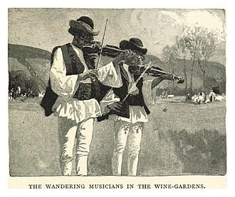 Romani music - Wandering musicians in the wine gardens of Transylvania (Pennell, 1893)