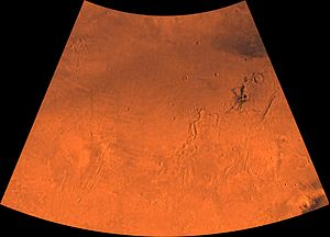 Arcadia quadrangle - Image of the Arcadia quadrangle (MC-3). The southern part contains the large shield volcano Alba Patera and the highly faulted Tempe Terra province, which includes many small volcanoes.