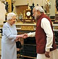 PM Modi shaking hands with Queen Elizabeth II at Buckingham Palace.jpg