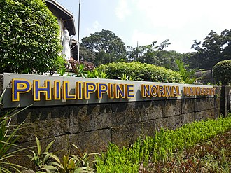 Philippine Normal University - The welcome sign outside of the Main Building of the Philippine Normal University in Manila.