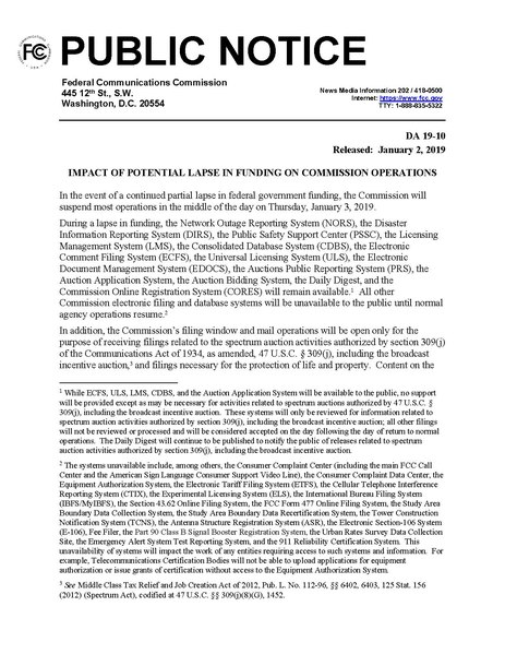 File:PUBLIC NOTICE from FCC during 2019 shutdown DA-19-10A1.pdf