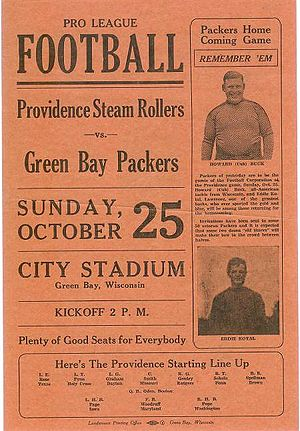 "Providence Steam Roller - 1931 program between the ""Steam Rollers"" and Green Bay Packers"