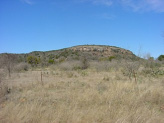 Packsaddle Mountain (Llano County, Texas) - Image: Packsaddle Mountain view from CR309