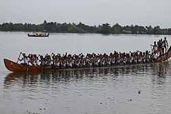 Paddlers training for Nehru boat race, Allepey.jpg