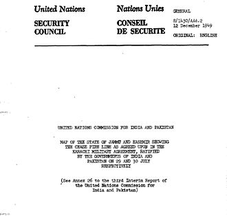 Siachen conflict - Page-1 of U.N. Map Number S/1430/Add.2 to Karachi Agreement 1949