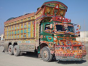 Truck art in South Asia - Most Pakistani trucks have an augmented rooftop to increase space for decoration.