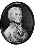 Black and white oval print of a serious young man in a white military coat with wide lapels. His hair comes down to his collar.