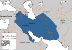 Parthian Empire at its greatest extent under Mithridates the Great (123–88 CE)