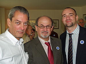 English: Paul Auster, Salman Rushdie and David...