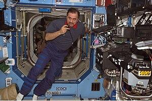 Pavel Vinogradov - Pavel Vinogradov inside the Destiny lab of the ISS.