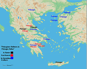 Pelasgians - Map of Pelasgians and Pelasgus.